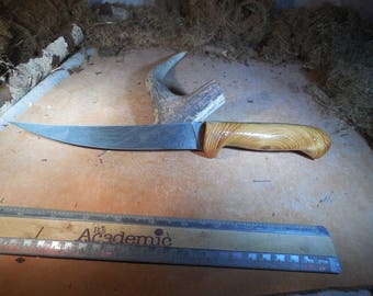 Damascus Fillet Knife with Pacific Pine wood handles