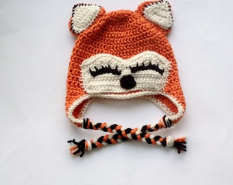 Fox Hat, Newborn Fox Hat, Sleepy Fox Hat, Christmas Gift, Toddler Gift, Baby Fox Hat, Toddler Fox Hat, Orange Fox Hat, Baby Photo Prop