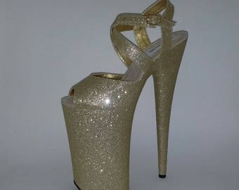 Pole Dance Shoes Stripper Heels Exotic Dancer Shoes Extreme High Heels Handmade Shoes Glitter Heels 10 inch Heels Pole Dance Wear Sizes 4-9