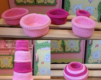 Handmade Crochet Nesting Cups Pink - Baby Toys
