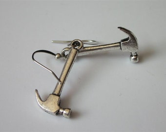 Hammer Earrings, Miniature Antiqued Silver Tool Earrings, Claw Hammer, Primitive Hand Tool