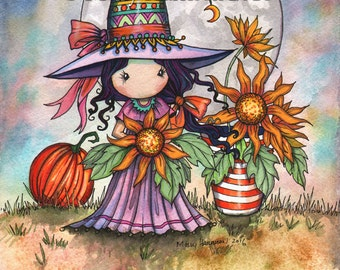 Whimsical Sunflower Witch - Original Watercolor and Mixed Media Painting by Molly Harrison - Witch Halloween Fantasy Wiccan Wicca