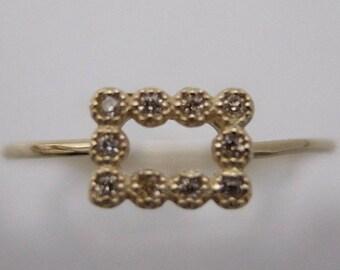 10K Yellow Gold Rectangle Millgrain Dia Ring