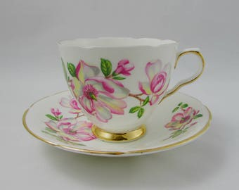 Old Royal Tea Cup and Saucer with Pink Flowers, Vintage Bone China, Teacup and Saucer