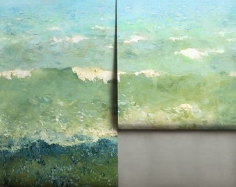 Painterly Coastal Mural • Easy to Apply Removable Peel 'n Stick Wallpaper