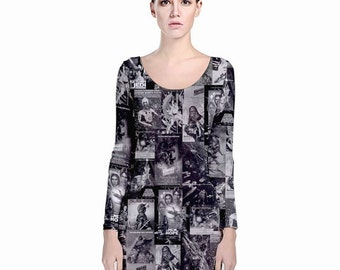 Star Wars Dress Black & White Posters Long Sleeve Bodycon Dress