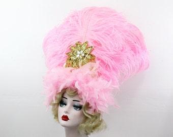 Pink Feather Headdress, Burlesque Showgirl Headpiece, Carnivale Costume, Viva Las Vegas, Gold Belly Dance Accessory