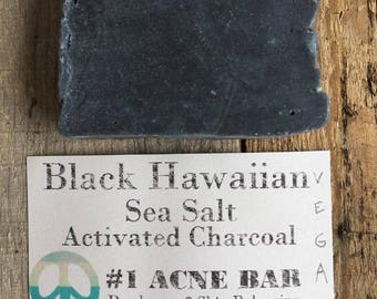 Best Ever Black Hawaiian Sea salt Tea Tree Juniper and Activated Charcoal ACNE Bar Face or Body Soap