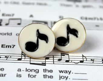 Music Note Post Porcelain Ceramic Earrings