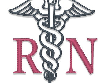 Caduceus RN Embroidery Design - Instant Download