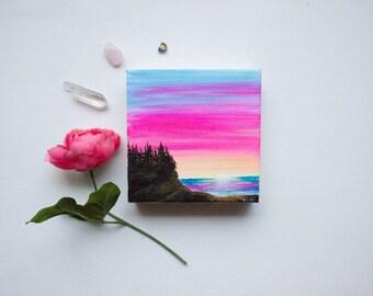 Acrylic Painting titled 'Sunrise on the Bay'