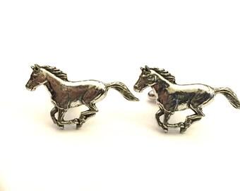 Horse Cufflinks, Mustang Cufflinks, Equestrian Cufflinks, Men's Cuff Links, Wedding Cuff Links, Father's Day, Graduation Gift, Holiday Gift