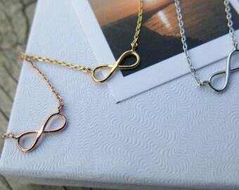 Infinity Necklace, Eternity Necklace, Bridesmaids Necklace, Rose Gold  Eternity Necklace, Tiny Necklace, Simple Necklace, Everyday Necklace