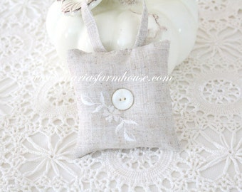 Vintage Linen, Handmade Small Stuffed Hanging Embroidered Pillow with Mother of Pearl Button, Gifts for Her