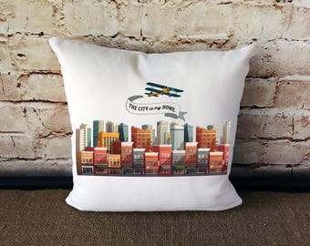 City Skyline Pillow - City Skyline - City Pillow - Skyline - Cityscape - City Urban Pillow -  Urban Pillow - Urban Decor -