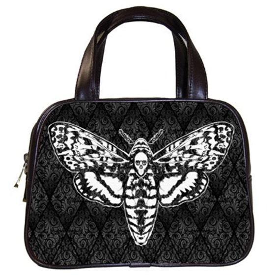 Skull Head Moth on Damask Handbag