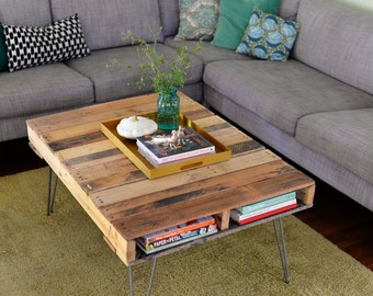 Wooden hand made Pallet Coffee Table tables Farmhouse Style Rustic Shabby Chic, Solid Wood Hairpin Legs