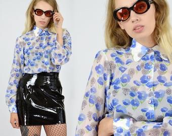 Vintage Sheer Floral Print Shirt
