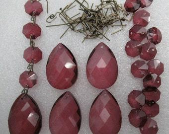 "50 pc Vintage-Look CRYSTAL Windchimes Plum Purple Mulberry  1.5"" Teardrop  Prisms & 14mm Octagons Jewel Chandelier  Ornament Craft Supply"