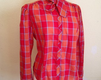 Vintage Secretary Blouse in Orange Check. 1980s Retro Tie Neck Blouse