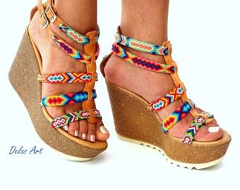 Cork wedged Heel,  Leather sandals, Platform sandals, Greek leather sandals, Boho sandals, Colorful sandals, Handmade sandals