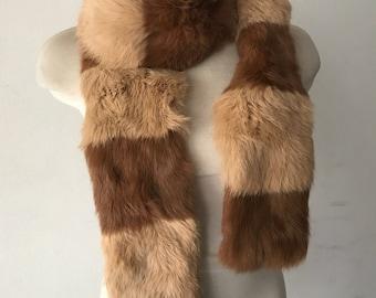 Rabbit fur winter scarf size universal