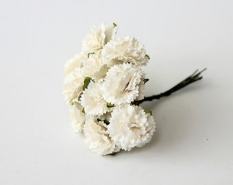 50 pcs - White carnation paper flowers - Wholesale pack