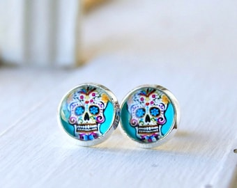 sweet sugar skulls post earrings, stud, dia de los muertos, colorful, day of the dead
