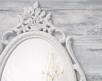 DECORATIVE VINTAGE MIRRORS For Sale Oval Mirror Shabby Chic Baby Nursery French Country Home Decorative Wall Mirror White Framed