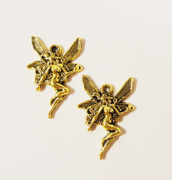 Gold Fairy Charms 22x16mm Antique Gold Metal Mythical Fantasy Charm Pendant Jewelry Making Jewelry Findings 10pcs