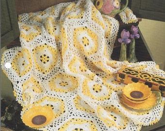 Sunshine Throw Crochet Motif Afghan Blanket Pattern, Home Decor, Bedspread, Sofa Throw, Bedding, Annie's Crochet Quilt
