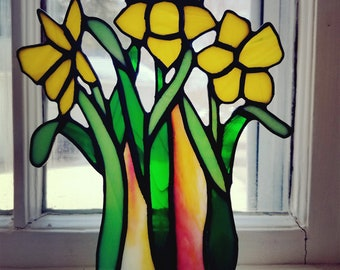 Yellow Daffodils Stained Glass