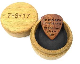 Personalized Custom Latitude Longitude GPS coordinates Engraved Wooden Guitar Pick / Where You Picked Me / Plectrum Musician Crstimas Gift