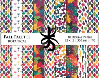 Digital Scrapbook Papers-Fall Palette-Botanical-Leaf-Fall-Thanksgiving-Autumn-Leaves-Floral-Paper Pack-Printable-Instant Download Clip Art