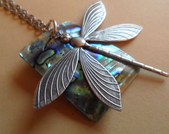Dragonfly and Rectangular Abalone/Paua Shell Long Necklace Each Unique