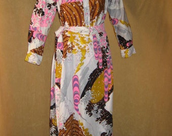 Catherine Ogust Penthouse Gallery Blouse & Skirt Psychedelic 60s Vintage