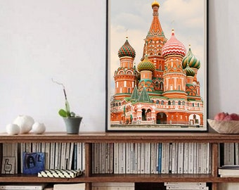 Moscow large architecture print photography Large wall art Russian Church art architectural art oversized poster Cathedral print 12x16 12x18