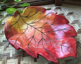 Autumn Leaf Handmade Serving Plate