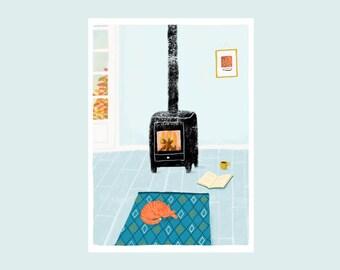 Autumn leaves, illustration print, cozy wood burner, interior