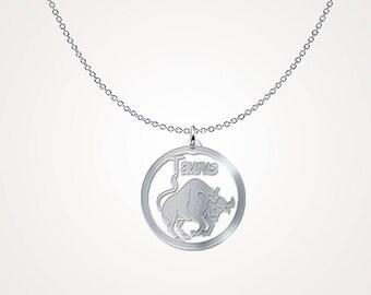 Taurus zodiac necklace sterling silver- Taurus constellation necklace - .925 Sterling Silver Necklace