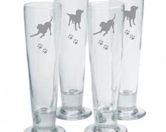 Labrador Retreiver Choice of Pilsner, Beer Mug, Pub, Wine Glass, Coffee Mug, Rocks, Water Glass  Set of 4 Sand Carved (sandblasted)