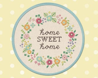 Home Sweet Home Wreath Cross Stitch Pattern. Flower Wreath, Modern Simple Cute Quote Counted Cross Stitch PDF Pattern. Instant Download