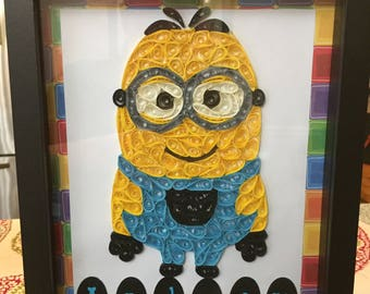 Minion 8x10 Paper Quilled Personalized