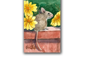 Field Mouse Yellow Daisy Original Nursery Baby Watercolor Original LLMartin New Mom Mice Free Shipping USA