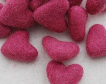 3cm 100% Wool Felt Hearts - 10 Count - Victorian Rose Pink