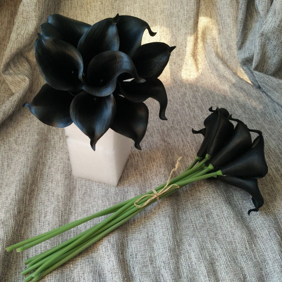 Black Calla Lilies Wedding Flowers 10 stem Real Touch Calla