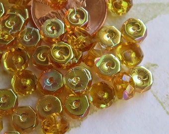 Topaz with Half Auroa Borealis Coating Faceted Flat Rondelle Czech Beads, 50 Beads - Item 3548
