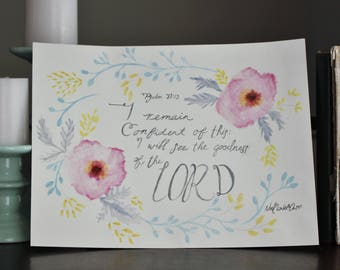 Floral watercolor Psalm 27:13