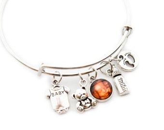Baby Gift, New Mommy Gift, Push Gift, Push Present, Photo Bracelet, Photo Charm Bracelet, Photo Jewelry, Expandable Bracelet