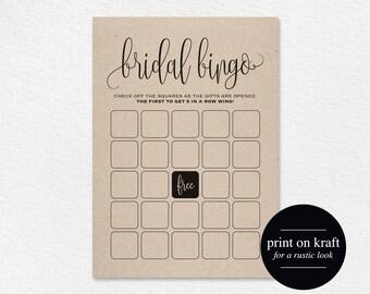 Bridal Shower Bingo, Bridal Shower Games, Wedding Shower Game, Bridal Shower Ideas, Bingo Template, DIY, PDF Instant Download #BPB203_12G_2